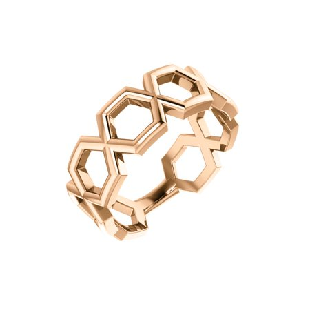 14K Rose Gold Geometric Fashion Cocktail Ring Size 7 for Womens