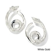 Sonia Bitton 18k Gold 1 1/5ct TDW Designer Diamond Swirl Earrings (G-H, SI1-SI2) White Gold