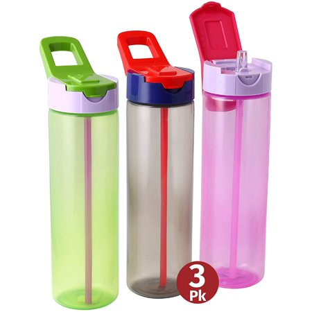 Water Bottles With Straw For Kids – 3 Pack Kids sports Bottles, sipper water bottle 3 Multi-Coloured Kids Leakproof Sports Water Bottles With Carry Strap Handle FOR SCHOOL CYCYLING GYM 25oz By Herevin](Kids Water Bottles)