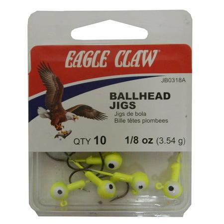 Eagle Claw Double Eye Ballhead Jig Chartreuse Size 1 8 Oz  10 Pack  Jb0318ah
