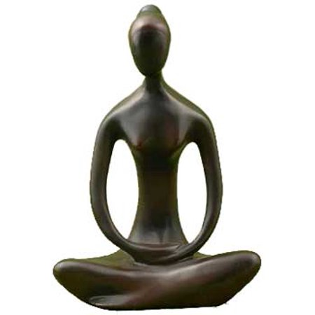 Meditation Statue Yoga Goddess Feminine Divine Seated in Contemplative Pose Black Coloring Made of Cold Cast Resin 8