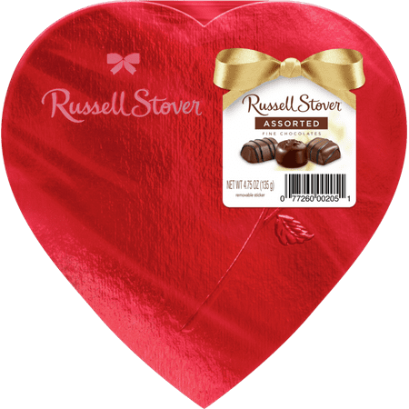 Russell Stover Red Foil Heart Box of Valentines Assorted Chocolates - 4.75 oz, 8 pieces