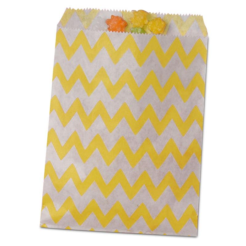25ea - 5-1/8 X 6-3/8 Yellow Zig Zag Merchandise Bag-Pkg by Paper Mart
