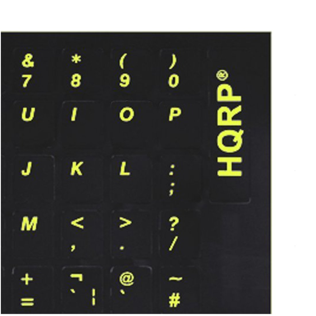 HQRP United States / United Kingdom Laminated Keyboard Stickers for All PC & Laptops with Yellow Lettering on Black Background
