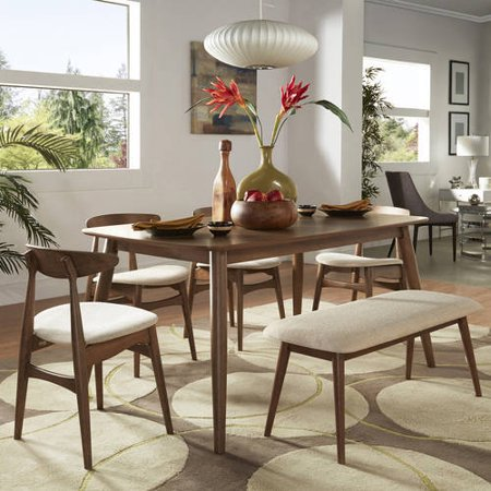 Chelsea Lane Mid Century Modern 6 Piece Dining Set 66 Table Multiple Finishes