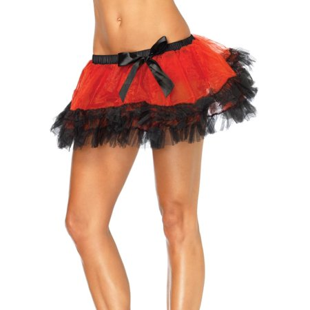Three Tier Red Iridescent Costume Petticoat Adult One -