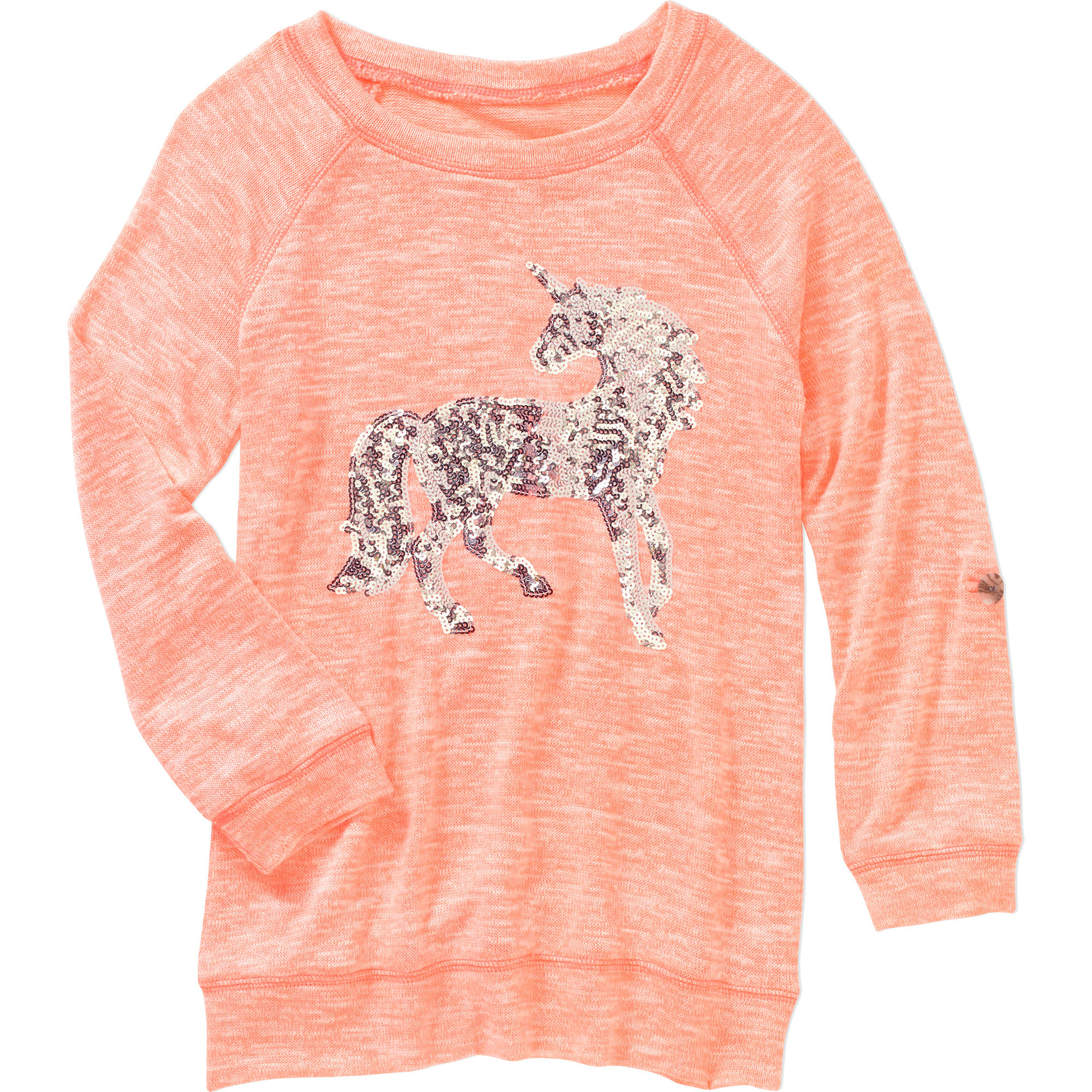 Miss Chievous Girls 3/4 Rolled Tab Sleeve Sequin Unicorn Top