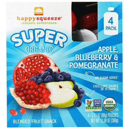 Nurture Inc. (Happy Baby), Happy Squeeze, Super Organic, Apple Blueberry & Pomegranate, 4 Pouch, 3.17 oz (pack of 6)