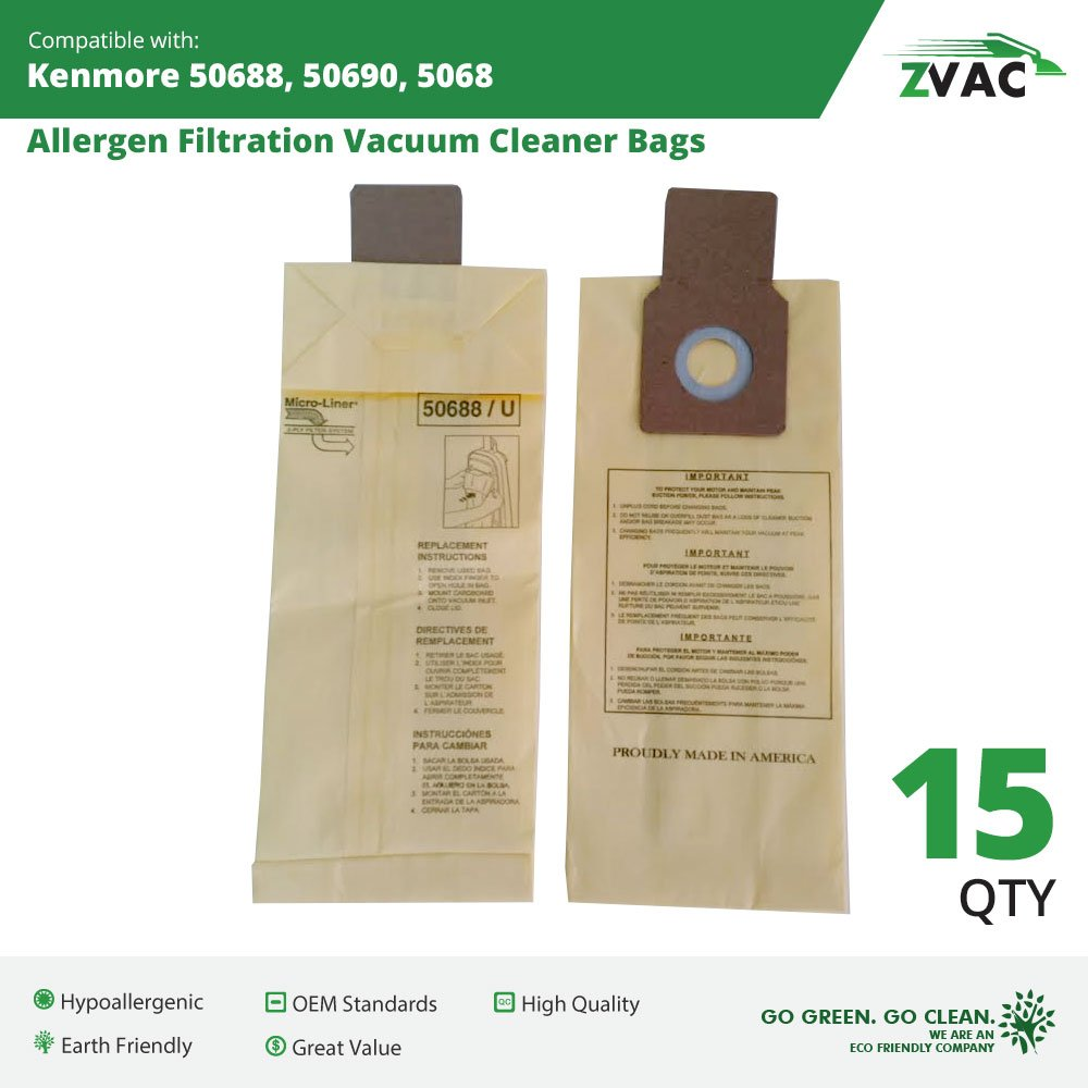 Microlined Kenmore 50688,50690,5068 Allergen Filtration Vacuum Cleaner Bags 15 Pack By Zvac