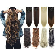 """NK Beauty 24"""" Curly Wave Clips in Synthetic Hair Extensions Hair pieces for Women double double weft 7 piece full head"""