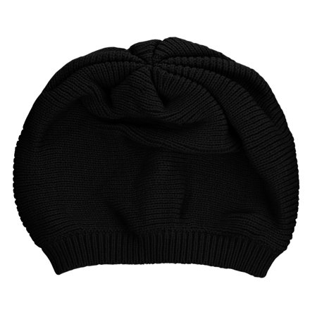 NYFASHION101 Unisex Yarn Crafted Warm Knit Ribbed Baggy Hat Skull Cap Beanie, Black