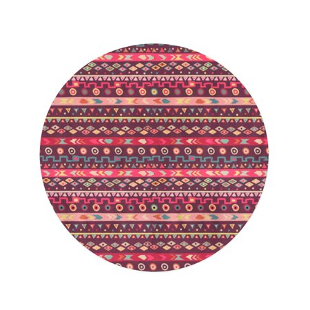 JSDART 60 inch Round Beach Towel Blanket Tribal Boho Stripes Striped Vintage STYL Ethnic for Holiday Travel Circle Circular Towels Mat Tapestry Beach Throw - image 2 de 2
