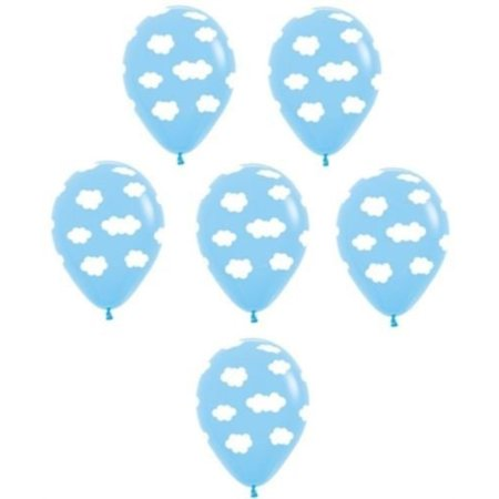 LoonBalloon White Cloud Blue Sky Printed 6 Baby Shower Party Decoration Latex Balloons USA (Cloud Party)