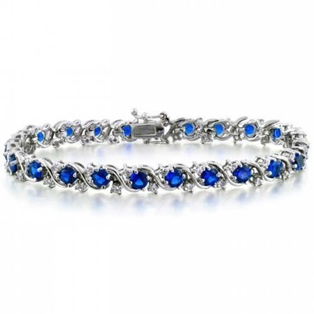 Royal Blue CZ Wave Tennis Bracelet For Women Simulated Sapphire Round Cubic Zirconia 8 Inch Safety Clasp
