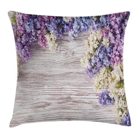 Rustic Throw Pillow Cushion Cover, Lilac Flowers Bouquet on Wood Table Spring Nature Romance Love Theme, Decorative Square Accent Pillow Case, 16 X 16 Inches, Lilac Violet Dark Taupe, by Ambesonne