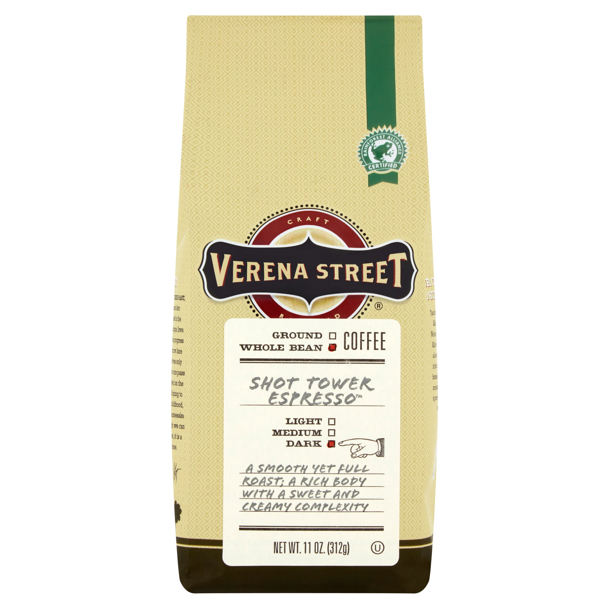 Verena Street  Whole Bean Coffee Shot Tower Espresso Dark, 11.0 OZ