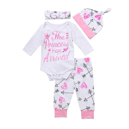 Newborn Infant Toddler Outfit Baby Girls Long Sleeve Rompers Playsuit Bodysuit Leggings Headband Hat 4PCS Clothes Set Newborn Baby Girls Infant Legging
