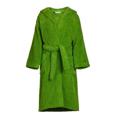 Kids 100% Cotton Hooded Terry Robe Green / Small/Medium - Greek Robes