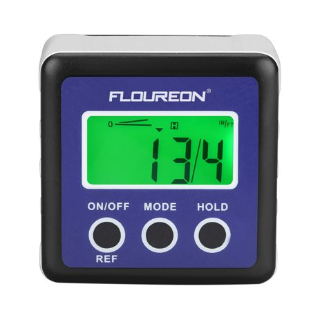 Floureon Digital Bevel Box Gauge LCD Angle Finder Green Backlight Display Protractor