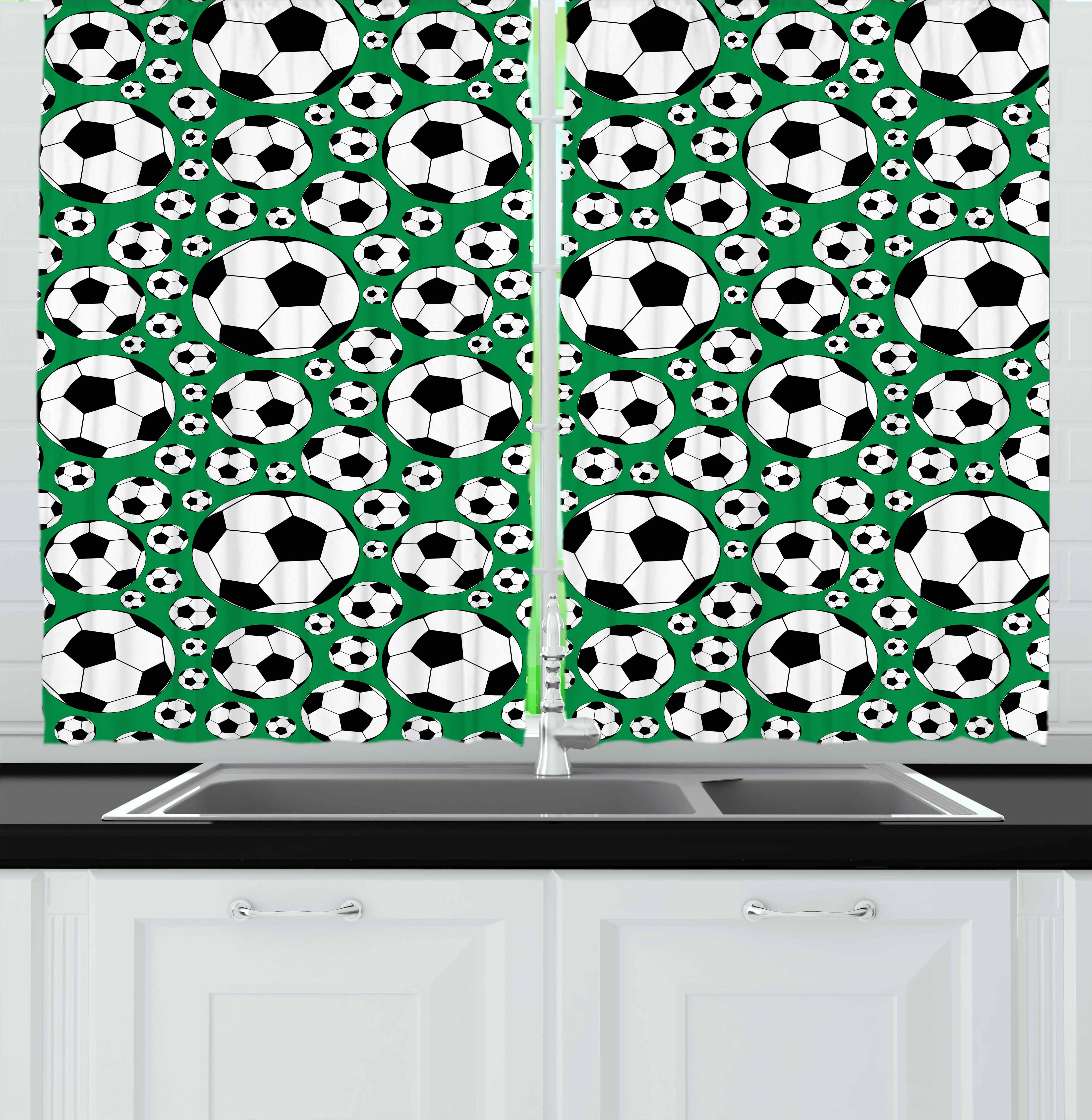 Soccer Curtains 2 Panels Set, Various Sizes Footballs Pattern Active Lifestyle Popular Sport from Europe, Window Drapes for Living Room Bedroom, 55W X 39L Inches, Green Black White, by Ambesonne kc_50840_55x39