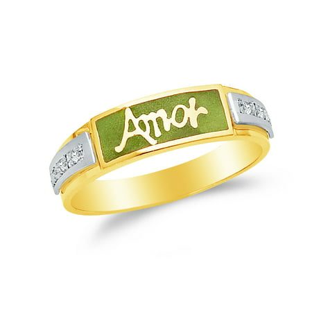 Enamel Gold Tone Ring (Men's Solid 14k Two 2 Tone White and Yellow Gold Green Enamel Amor Wedding Band, CZ Cubic Zirconia (0.1 ct.) , Size)