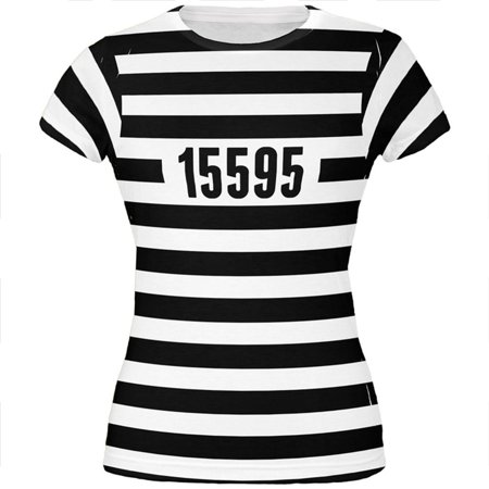 Halloween Prisoner Old Time Striped Costume All Over Juniors T Shirt](Bassnectar Halloween Time)