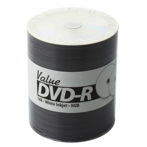 100 JVC Taiyo Yuden Value Line 16x DVD-R White Inkjet Hub Printable