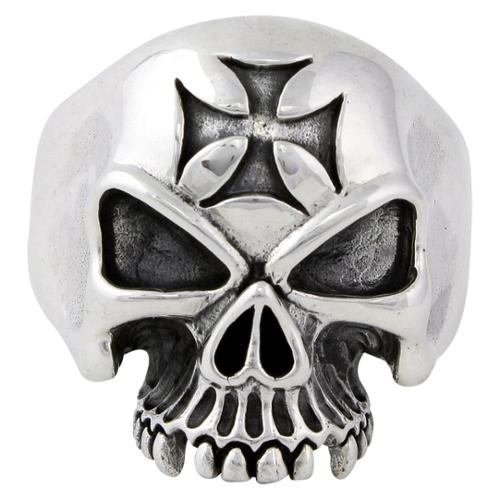 Sterling Silver Ride or Die Iron Cross Skull Ring 12