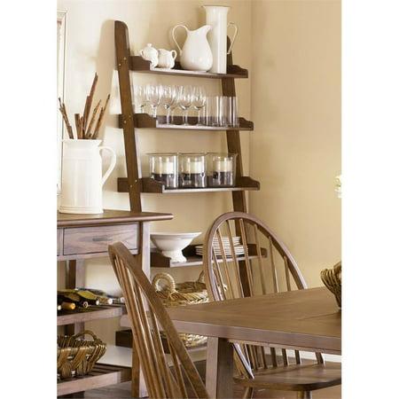 Liberty Furniture Farmhouse 5 Shelf Leaning Bookcase in Weathered Oak ()