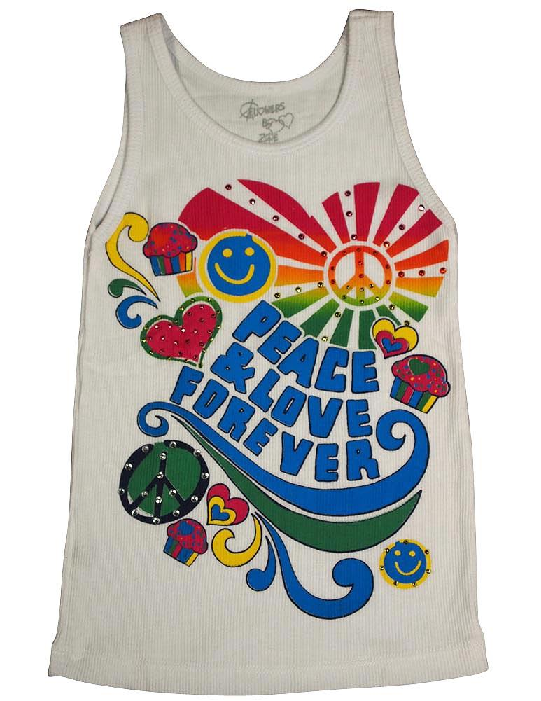 Flowers by Zoe - Girls Ribbed Tank Top - 4 Different Prints - 100% Cotton White Peace & Love Forever / 3T