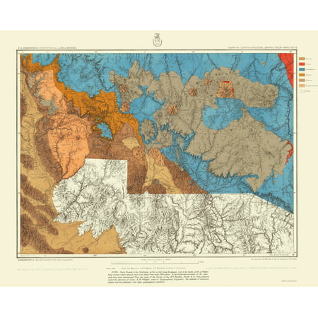 Geographical Map Of Arizona.Topographical Map Arizona West Central Arizona Geographical 1872 23 X 28 46