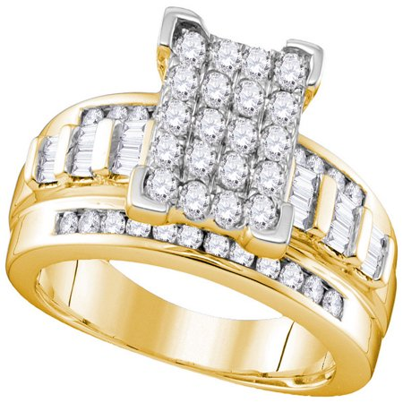 10kt Yellow Gold Womens Round Diamond Cinderella Cluster Bridal Wedding Engagement Ring 1.00 Cttw - Cinderella Bridals