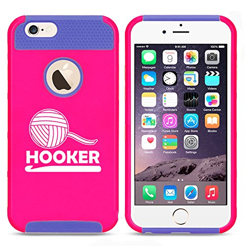 For Apple iPhone (6 Plus) (6s Plus) Shockproof Impact Hard Soft Case Cover Funny Crochet Hooker (Hot Pink-Blue)