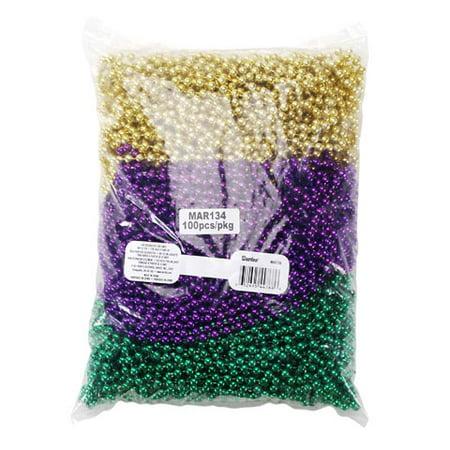 Mardi Gras Necklace - Asst Colors - 6mm x 33 in - 100 pcs