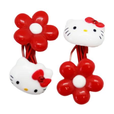 Sanrio - Hello Kitty Red Flower Girls Hair Tie Set (2pc) - Walmart.com 43ac958ccb4