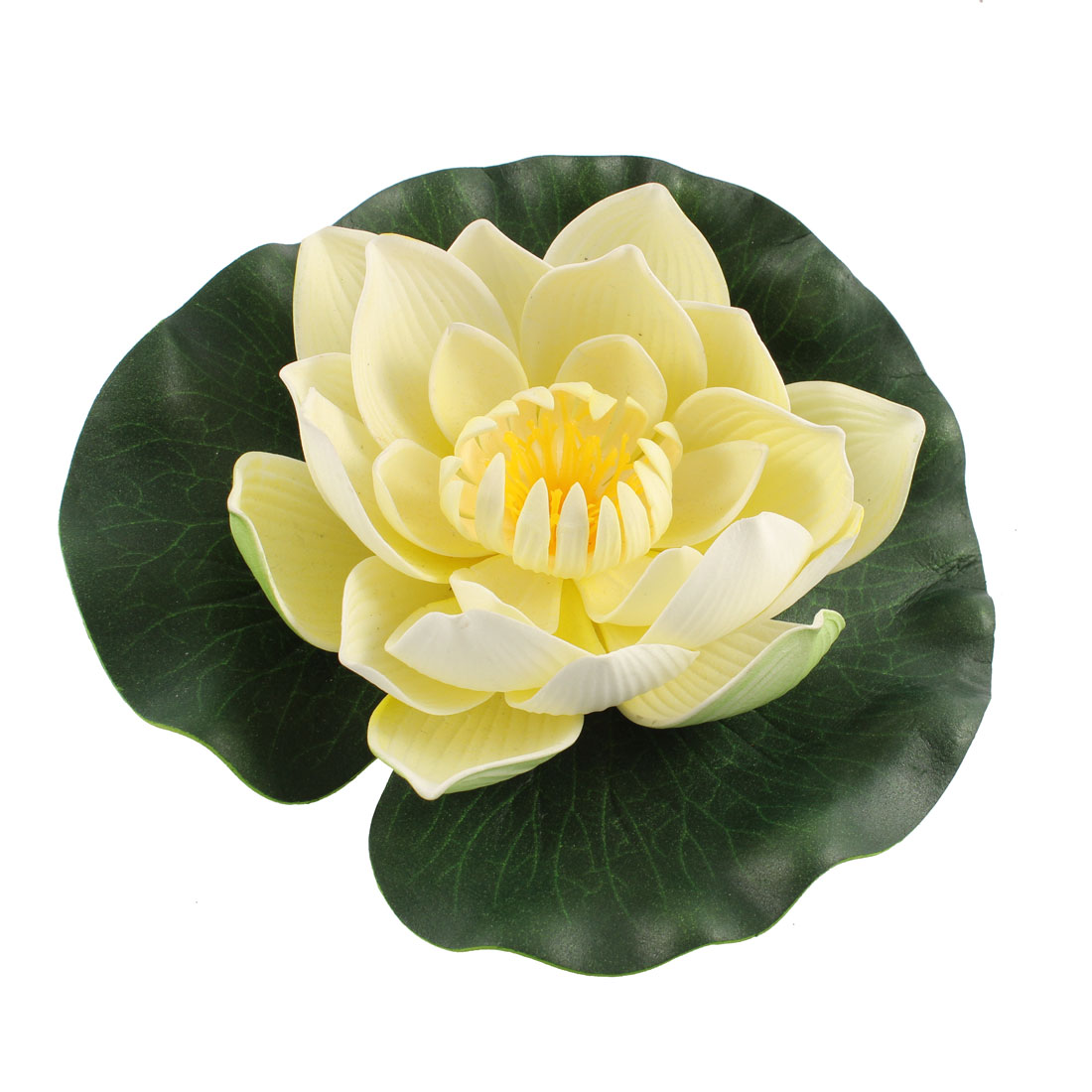 Unique Bargains Aquarium Simulation Foam Lotus Flower Aquatic Floating Plant Decor Beige Green