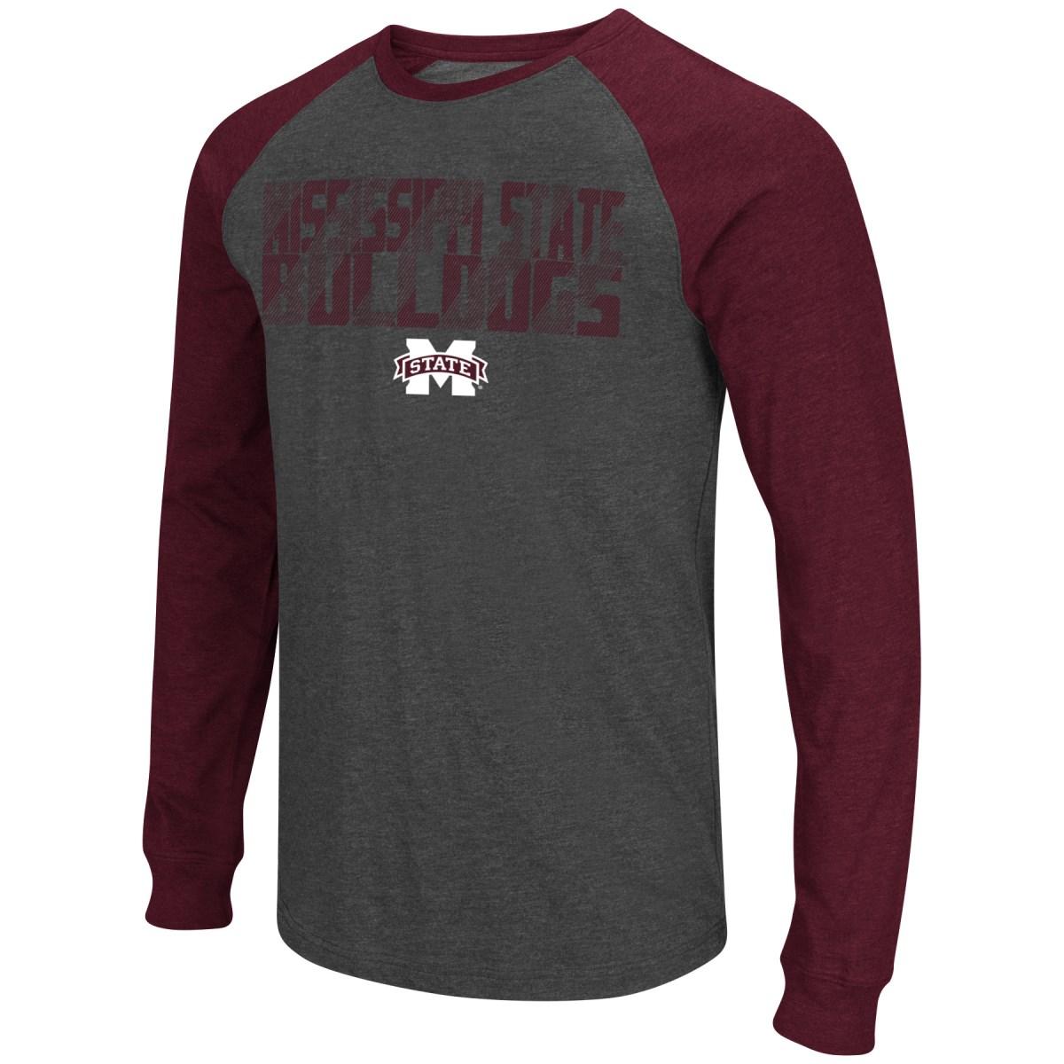 "Mississippi State Bulldogs NCAA ""Olympus"" Long Sleeve Raglan Shirt - Charcoal"