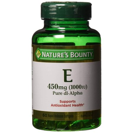 Vitamin E Pills and Supplement, Supports Antioxidant Health, 1000iu, 60 Softgels Nature