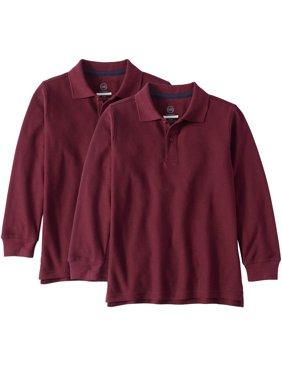 Wonder Nation Husky School Uniform Long Sleeve Double Pique Polo, 2-Pack Value Bundle (Husky Boys)