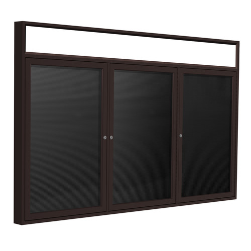 Ghent PBB8-BK 36 in. x 72 in. 3-Door Bronze Alum Frame with Headliner Enclosed Black Changeable Letterboard