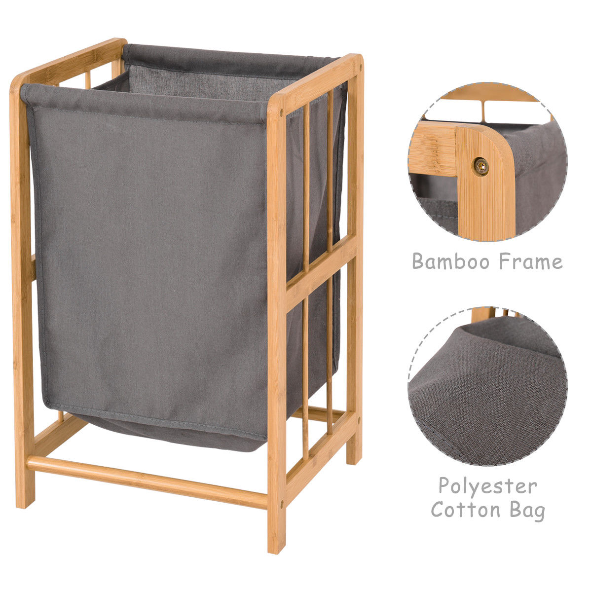 Costway Laundry Hamper Bamboo Frame Durable Cloth Bag Sorter Storage ...