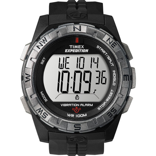 Timex Men's Expedition Vibration Alarm Watch, Black Resin Strap by Timex