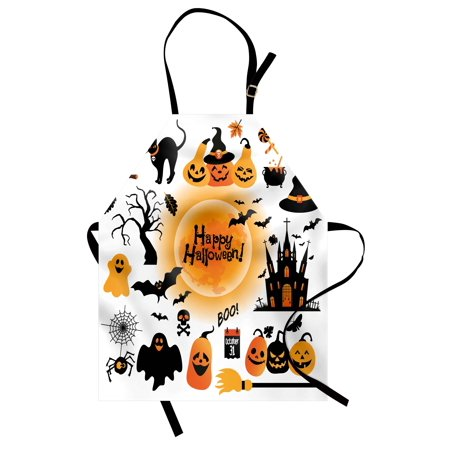 Halloween Apron All Hallows Day Objects Haunted House Owl and Trick or Treat Candy Black Cat, Unisex Kitchen Bib Apron with Adjustable Neck for Cooking Baking Gardening, Orange Black, by Ambesonne