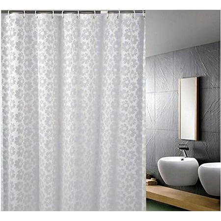 Eve Split Water Repellent Transparent Flowers Pattern Resistant Anti Bacterial PEVA Shower Curtain For Bathroo