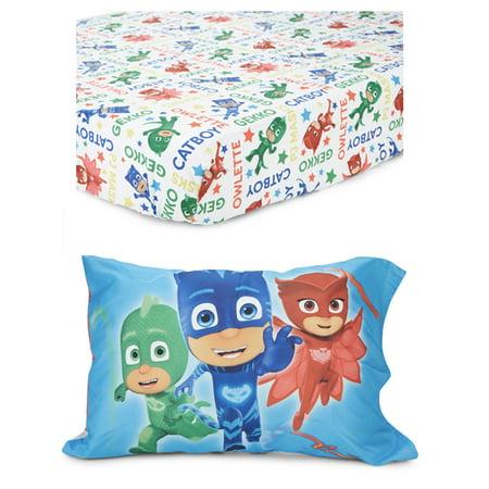 Toddler Travel Pillowcase - PJ Masks 2 pc Toddler Fitted Sheet / Pillow Case Set