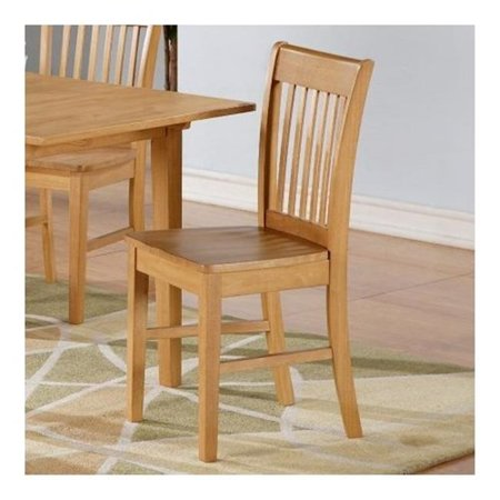 Oak Hall Seat - East West NFC-OAK-W Norfolk Chair with Wood Seat -Oak Finish., Oak - Pack of 2