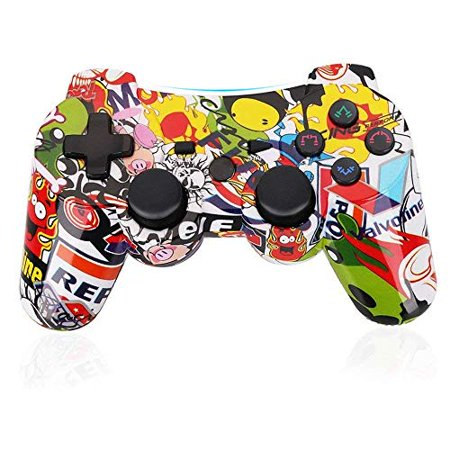 PS3 Controller Wireless Gamepad 6 Axis Dualshock 3 Game Remote Control Joystick for Playstation 3 with Charging Cable (Cartoo ()