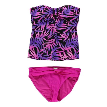Island Escape Womens Tropical Bandini 2 Piece Bikini pinkpurple 12