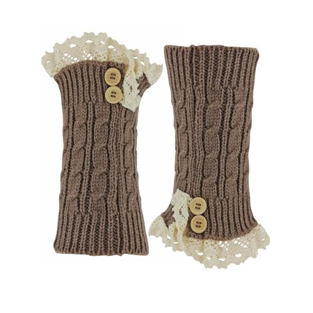 Brown Knit Boot Liner Leg Warmers With Lace - Brown Furry Leg Warmers