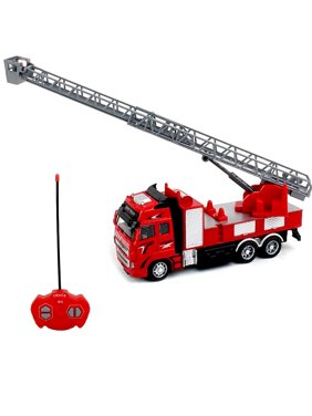 RC Fire Truck Toy Battery Powered Car Fire Engine Truck with Extending Ladder Firefighter Toy Truck for Toddler